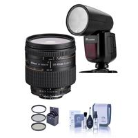 Image of Nikon 24-85mm f/2.8-4 IF AF-D NIKKOR Lens with Hood - U.S.A. Warranty - WITH Flashpoint Zoom Li-on X R2 TTL On-Camera Round Flash Speedlight For Nikon, 72mm Filter Kit, Cleaning Kit