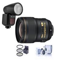Image of Nikon 28mm f/1.4E AF-S NIKKOR Lens - U.S.A. Warranty - Bundle Flashpoint Zoom Li-on X R2 TTL On-Camera Round Flash Speedlight For Nikon, 77mm Filter Kit, Cleaning Kit