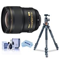 Image of Nikon 28mm f/1.4E AF-S NIKKOR Lens U.S.A. Warranty - Bundle With Vanguard Alta Pro 264TBH Tripod and TBH-100 Head with Arca-Swiss QR Plate, Cleaning Kit, Microfiber Cloth