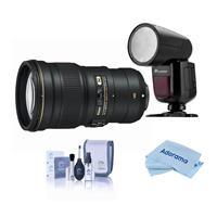 Image of Nikon 300mm f/4E PF ED VR AF-S NIKKOR Lens - USA Warranty - With Flashpoint Zoom Li-on X R2 TTL On-Camera Round Flash Speedlight For Nikon, Cleaning Kit, Microfiber Cloth