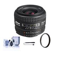 Image of Nikon 35mm f/2D AF NIKKOR Lens - U.S.A. Warranty - Accessory Bundle with 52mm UV Glass Filter, Lens Cap Leash, Lens Cleaning Kit