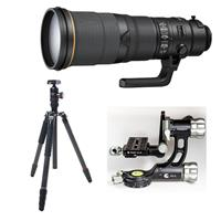 Image of Nikon 500mm f/4E AF-S NIKKOR FL ED VR Lens with U.S.A. Warranty - Bundle With FotoPro X-Go Max Carbon Fiber Tripod with Built-In Monopod FPH-62Q Ball Head, Fotopro E-6H Gimbal Head, Black