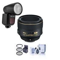 Image of Nikon 58mm f/1.4G AF-S NIKKOR Lens - U.S.A. Warranty - Bundle Flashpoint Zoom Li-on X R2 TTL On-Camera Round Flash Speedlight For Nikon, 72mm Filter Kit, Cleaning Kit