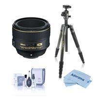 Image of Nikon 58mm f/1.4G AF-S NIKKOR Lens, Bundle with Vanguard VEO 2 Aluminum Tripod