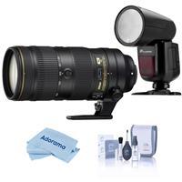 Image of Nikon AF-S NIKKOR 70-200mm f/2.8E FL ED VR Lens U.S.A. Warranty - With Flashpoint Zoom Li-on X R2 TTL On-Camera Round Flash Speedlight For Nikon, Cleaning Kit, Microfiber Cloth
