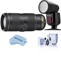 Image of Nikon 70-200mm f/4G ED AF-S VR Zoom NIKKOR Lens U.S.A. Warranty - With Flashpoint Zoom Li-on X R2 TTL On-Camera Round Flash Speedlight For Nikon, Cleaning Kit, Microfiber Cloth