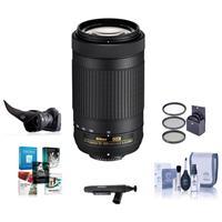 Image of Nikon AF-P DX NIKKOR 70-300mm f/4.5-6.3G ED Lens USA Warranty - Bundle with 58mm Filter Kit, Flex Lens Shade, Lens Pouch, Cleaning Kit, Cap Leash, Cleaner, Software Package