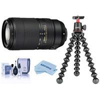 Compare Prices Of  Nikon AF-P NIKKOR 70-300mm f/4.5-5.6E ED VR Lens, USA Warranty - with Joby GorillaPod 3K Kit Black, Cleaning Kit, Microfiber Cloth