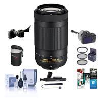 Image of Nikon AF-P DX NIKKOR 70-300mm f/4.5-6.3G ED VR Lens - USA Warranty - Bundle with 58mm Filter Kit, Flex Lens Shade, DSLR Follow Focus, Lens Pouch, Cleaning Kit, Cap Leash, Software Package and More