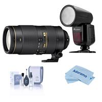 Image of Nikon 80-400mm f/4.5-5.6G AF-S VR NIKKOR ED Lens U.S.A. Warranty - With Flashpoint Zoom Li-on X R2 TTL On-Camera Round Flash Speedlight For Nikon, Cleaning Kit, Microfiber Cloth