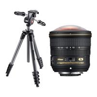 Image of Nikon 8-15mm f/3.5-4.5E EDIF AF-S Fisheye NIKKOR Lens - Nikon U.S.A. Warranty - With Manfrotto 5-Section Compact Advanced Aluminum Tripod with 3-Way Pan Head, Black