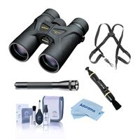 Image of Nikon 8x42 Prostaff 3 Roof Prism Binocular, 7.2 Degree Angle of View, Black, Bundle with Accessory Kit