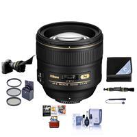 Image of Nikon 85mm f/1.4G IF AF-S NIKKOR Lens USA. Warranty - Bundle With 77mm Filter Kit, Flex Lens Shade - Lens Wrap (15x15) - Cleaning Kit - Lens Cleaner, Cap Leash, Mac Software Package