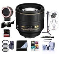 Compare Prices Of  Nikon 85mm f/1.4G IF AF-S NIKKOR Lens USA. Warranty - Bundle With 77mm Filter Kit, Peak Lens Changing Kit Adapter, 4-Section Aluminum Monopod, Flex Lens Shade - 32GB SDHC Card, Software, And More