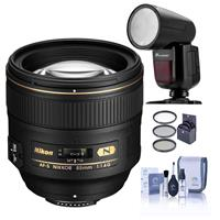 Image of Nikon 85mm f/1.4G IF AF-S NIKKOR Lens - U.S.A. Warranty - With Flashpoint Zoom Li-on X R2 TTL On-Camera Round Flash Speedlight For Nikon, 77mm Filter Kit, Cleaning Kit