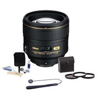 Compare Prices Of  Nikon 85mm f/1.4G IF AF-S NIKKOR Lens - U.S.A. Warranty - Accessory Bundle with 77mm Photo Essentials Filter Kit, Lens Cap Leash, Professional Lens Cleaning Kit