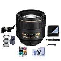 Image of Nikon 85mm f/1.4G IF AF-S NIKKOR Lens USA. Warranty - Bundle With 77mm Filter Kit, Flex Lens Shade - Lens Wrap (15x15) - Cleaning Kit - Lens Cleaner, Cap Leash, PC Software Package