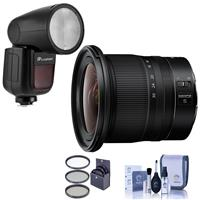 Image of Nikon NIKKOR Z 14-30mm f/4 S Ultra-Wide Zoom Lens - Bundle With Flashpoint Zoom Li-on X R2 TTL On-Camera Round Flash Speedlight For Nikon, 82mm Filter Kit, Cleaning Kit