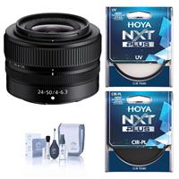 Compare Prices Of  Nikon NIKKOR Z 24-50mm f/4-6.3 Zoom Lens Bundle with Hoya NXT Plus UV and CPL Filter, Cleaning Kit