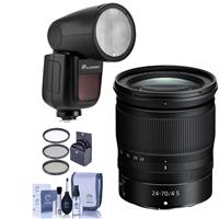 Image of Nikon NIKKOR Z 24-70mm f/4 S Lens for Z Series Mirrorless Cameras - With Flashpoint Zoom Li-on X R2 TTL On-Camera Round Flash Speedlight For Nikon, 72mm Filter KIt, Cleaning Kit