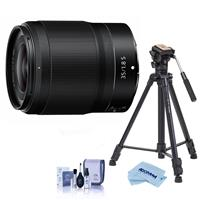 Image of Nikon NIKKOR Z 35mm f/1.8 S Lens for Z Series Mirrorless Cameras - With Slik Sprint Pro III BH Travel Tripod with SBH-100 DQ All Metal Ball Head, Black, Cleaning Kit, Microfiber Cloth