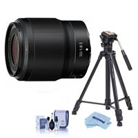 Image of Nikon NIKKOR Z 50mm f/1.8 S Lens for Z Series Mirrorless Cameras - With Slik Sprint Pro III BH Travel Tripod with SBH-100 DQ All Metal Ball Head, Black, Cleaning Kit, Microfiber Cloth