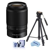 Image of Nikon NIKKOR Z DX 50-250mm f/4.5-6.3 VR Lens - With Slik Sprint Pro III BH Travel Tripod with SBH-100 DQ All Metal Ball Head, Black, Cleaning Kit, Microfiber Cloth