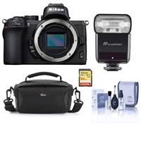 Image of Nikon Z50 Mirrorless Camera Body - Bundle With Camera Case, 64GB SDXC Memory Card, Flashpoint Zoom-Mini TTL R2 Flash for Nikon Compact Cameras, Cleaning Kit