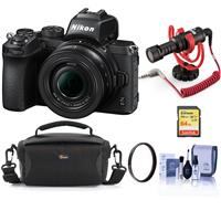 Image of Nikon Z50 Mirrorless Camera with NIKKOR Z DX 16-50mm f/3.5-6.3 VR Lens - Bundle With RODE VideoMicro Compact On-Camera Microphone, 64GB SDXC Memory Card, Camera Case, 46mm UV Filter, Cleaning Kit