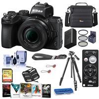 Image of Nikon Z50 Mirrorless Camera with NIKKOR Z DX 16-50mm f/3.5-6.3 VR Lens - Bundle With Camera Case, 64GB SDXCU3 Card, Nikon ML-L7 Bluetooth Remote Control, Tripod, Nikon EN-EL25 Battery, Software Pack, More