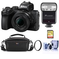 Image of Nikon Z50 Mirrorless Camera with NIKKOR Z DX 16-50mm f/3.5-6.3 VR Lens - Bundle With Flashpoint Zoom-Mini TTL R2 Flash, 64GB SDXC Memory Card, Camera Case, 46mm UV Filter, Cleaning Kit