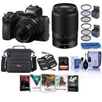 Image of Nikon Z50 DX-Format Mirrorless Camera with NIKKOR Z DX 16-50mm f/3.5-6.3 VR & Z DX 50-250mm f/4.5-6.3 VR Lenses - Bundle With Camera Case, 32GB SDHC U3 Card, 62 / 46mm Filter Kits, PC Software, More