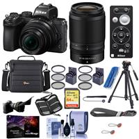 Image of Nikon Z50 DX-Format Mirrorless Camera with Z DX 16-50mm f/3.5-6.3 VR & Z DX 50-250mm f/4.5-6.3 VR Lenses - Bundle With Camera Case, 64GB SDXC Card, Tripod, 62/46mm Filter Kit, Pro software, And More