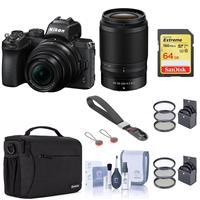 Image of Nikon Z50 DX-Format Mirrorless Camera with NIKKOR Z DX 16-50mm f/3.5-6.3 VR & Z DX 50-250mm f/4.5-6.3 VR Lenses, Bundle With LowePro Camera Bag, 64GB Card, Peak Design Wrist Strap, Filters and More