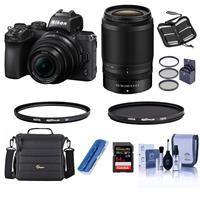 Image of Nikon Z50 DX-Format Mirrorless Camera with NIKKOR Z DX 16-50mm f/3.5-6.3 VR & Z DX 50-250mm f/4.5-6.3 VR Lenses, Bundle with Hoya UV & CPL Filters, 64GB SDX Memory Card, Camera Bag, And more