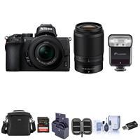 Image of Nikon Z50 DX-Format Mirrorless Camera with NIKKOR Z DX 16-50mm f/3.5-6.3 VR & Z DX 50-250mm f/4.5-6.3 VR Lenses, Zoom-M R2 TTL Flash, Camera Bag, 64GB Card, Filter Kits, Cleaning Kit, And More