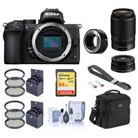Image of Nikon Z50 DX-Format Mirrorless Camera with NIKKOR Z DX 16-50mm f/3.5-6.3 VR & Z DX 50-250mm f/4.5-6.3 VR Lenses - Bundle With Camera Bag, 64GB Card, Peak Wrist Strap, Nikon Mount Adapter FTZ, And More