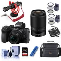 Compare Prices Of  Nikon Z50 DX-Format Mirrorless Camera with NIKKOR Z DX 16-50mm f/3.5-6.3 VR & Z DX 50-250mm f/4.5-6.3 VR Lenses, Bundle with Rode Microphone, Camera Bag, 64GB Card, Filter Kits, And More