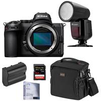 Image of Nikon Z5 Full Frame Mirrorless Camera Body - Speedlight Bundle with Flashpoint Zoom Li-on X R2 TTL On-Camera Round Flash, 64GB SD Card, Bag, Extra Battery, Screen Protector