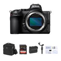 Image of Nikon Z5 Full Frame Mirrorless Camera Body Bundle with DJI Ronin-SC Gimbal Stabilizer, 64GB SD Card, Bag, Extra Battery, Screen Protector