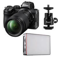 Image of Nikon Z5 Full Frame Mirrorless Digital Camera with NIKKOR Z 24-200mm f/4-6.3 VR Zoom Lens - Bundle with Aputure MC RGBWW Mini LED Light, Mini Ball Head