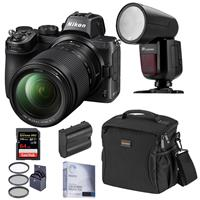 Image of Nikon Z5 Full Frame Mirrorless Digital Camera with 24-200mm Lens - Speedlight Bundle with Flashpoint Zoom Li-on X R2 TTL On-Camera Round Flash, 64GB SD Card, Bag, Extra Battery and Accessories