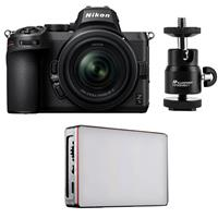 Image of Nikon Z5 Full Frame Mirrorless Digital Camera with NIKKOR Z 24-50mm f/4-6.3 Zoom Lens - Bundle with Aputure MC RGBWW Mini LED Light, Mini Ball Head