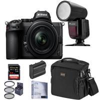 Image of Nikon Z5 Full Frame Mirrorless Digital Camera with 24-50mm Lens - Speedlight Bundle with Flashpoint Zoom Li-on X R2 TTL On-Camera Round Flash, 64GB SD Card, Bag, Extra Battery and Accessories