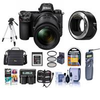 Image of Nikon Z6 FX-Format Mirrorless Camera with NIKKOR Z 24-70mm f/4 S Lens - Bundle With Nikon Mount Adapter FTZ Camera Case, Spare Battery, Dual Charger, Tripod, Sony 32GB XQD Memory Card, And More