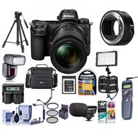 Image of Nikon Z6 FX-Format Mirrorless Camera with Z 24-70mm f/4 S Lens - Bundle With Camera Case, Spare Battery, Zoom R2 TTL Flash, Tripod, 64GB XQD Memory Card, Video Light, Nikon Mount Adapter FTZ, More