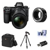 Image of Nikon Z6 FX-Format Mirrorless Camera with NIKKOR Z 24-70mm f/4 S Lens - Bundle With 4-section Aluminum Tripod with BallHead Gunmetal, Camera Case, Cleaning Kit, Card Reader