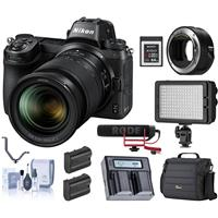 Image of Nikon Z6 FX-Format Mirrorless Camera with NIKKOR Z 24-70mm f/4 S Lens - Bundle With Rode Mic, FTZ Adapter, Camera Bag, Cleaning Kit, Green Extreme Batteries