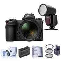 Image of Nikon Z 6II Mirrorless Digital Camera with NIKKOR Z 24-70mm f/4 S Lens Bundle with Flashpoint Zoom Li-on X R2 TTL On-Camera Round Flash, Extra Battery, Filter Kit and Accessories