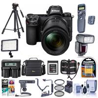 Image of Nikon Z7 FX-Format Mirrorless Camera with NIKKOR Z 24-70mm f/4 S Lens - Bundle With Camera Case, Spare Battery, Zoom R2 TTL Flash, Tripod, Sony 64GB XQD Memory Card, Video Light, Software, And More
